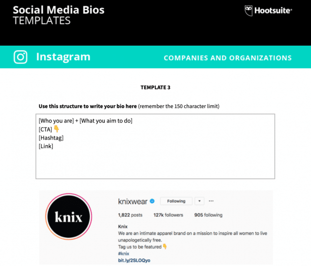 Screenshot of the social media bio templates