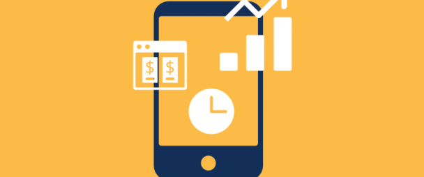 illustration of phone with ads, clock, and graph trending upwards
