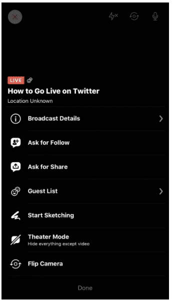 twitter live video options