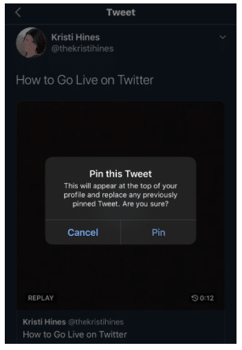 Pin this tweet option