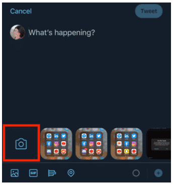camera icon on Twitter