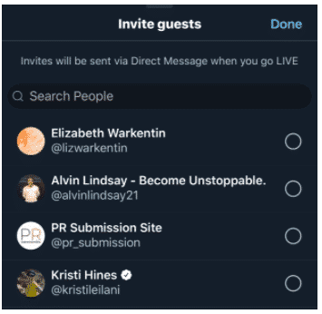 Invite guests tab on Twitter live video