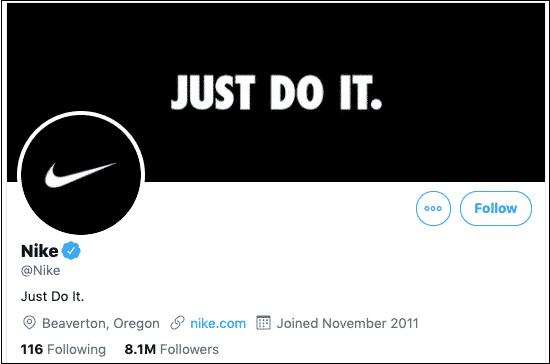 perfil de Twitter de Nike
