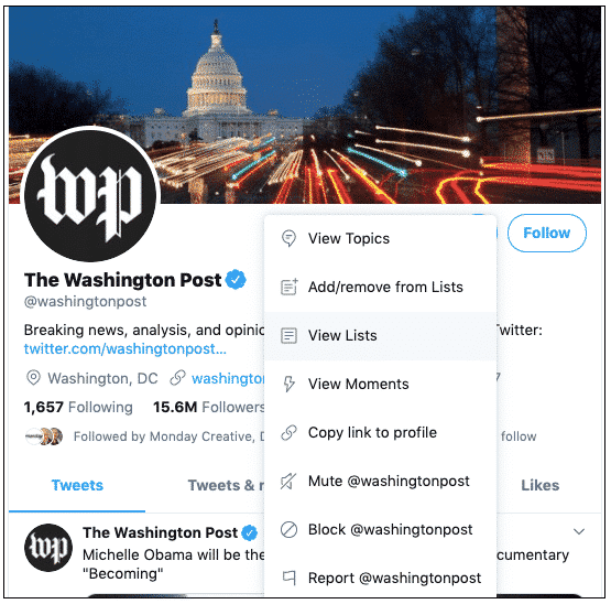 "Washington Post twitter profile ""view lists"" option"