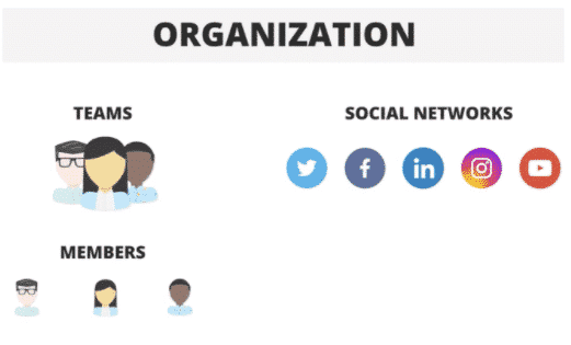 The organization flowchart is divided into teams, then into members and on the other hand into social networks