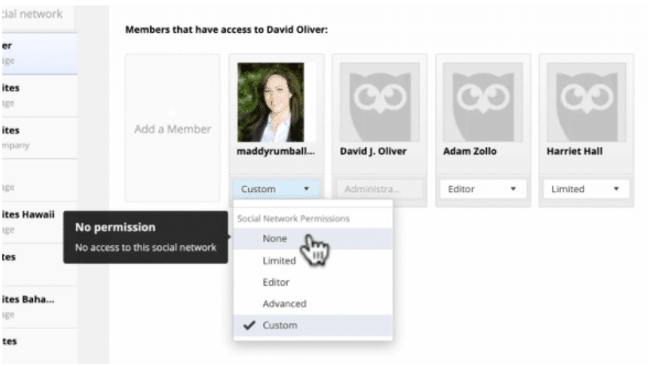 "Marking a team member with ""no permissions"" in Hootsuite"