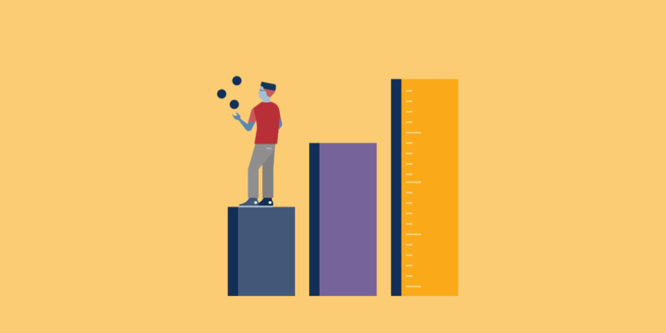 illustration of man juggling atop a bar graph