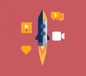 illustration of a rocket surrounded by video camera, play button, speech bubbles, and hearts