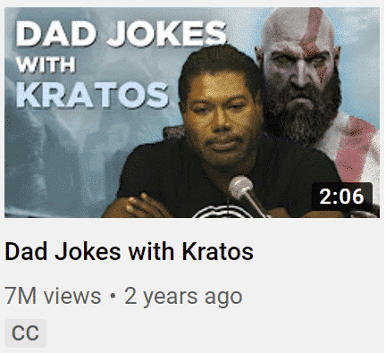 "YouTube video image for ""Dad Jokes with Kratos"" increase YouTube engagement"