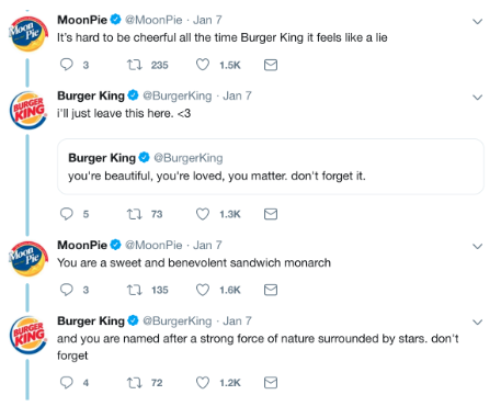 Tweets between Burger King and Moonpies