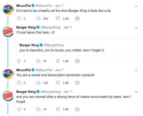 Tweets entre Burger King et Moonpies