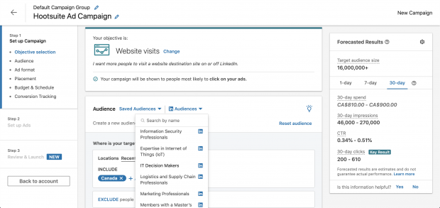 "LinkedIn Ads campaign manager dashboard, set to ""objective selection"""