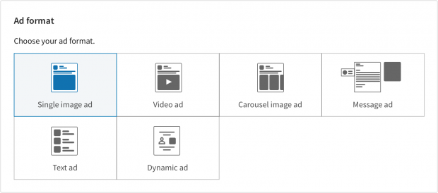 "choosing a LinkedIn ad format. ""Single image ad"" is currently selected."