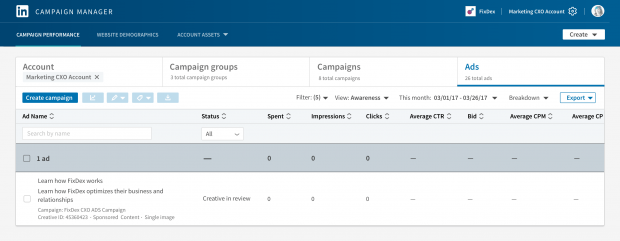 Campaign Performance tab for LinkedIn Ads Campaign Manager