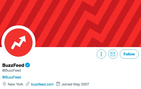 Twitter bio for Buzzfeed