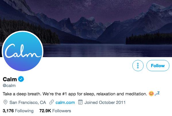 Bio de Twitter pour Calm