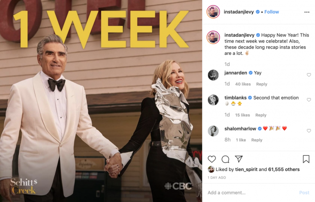 Instagram post by Dan Levy counting down 1 week until the new season of Schitt's Creek