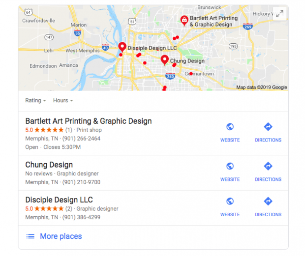 "Google search results for ""graphic designers in Memphis, Tennessee"""