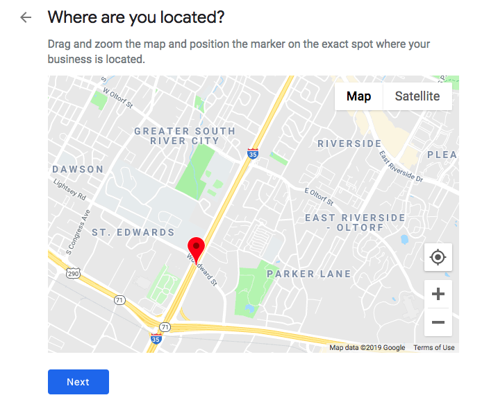 Ajout d'un emplacement exact à un profil Google My Business