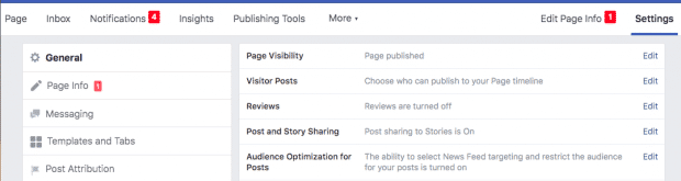 Settings tab on a Facebook page