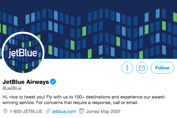 Twitter bio for JetBlue