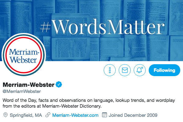 Twitter bio for Merriam-Webster
