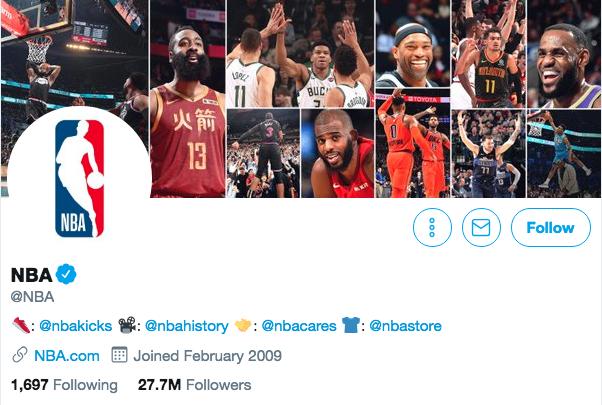 Twitter bio for NBA