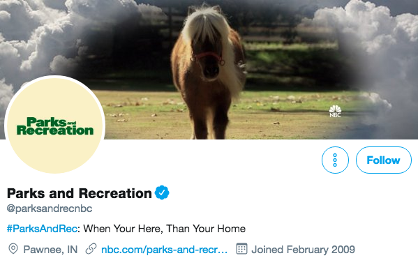 Twitter bio for Parks and Recreation
