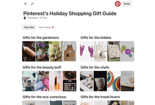 Tableau du guide des cadeaux des Fêtes de Pinterest