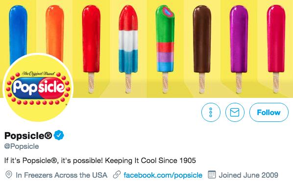 Bio sur Twitter pour Popsicle