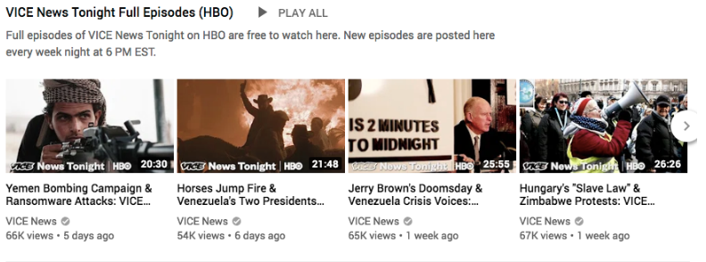 a series of Vice News Tonight videos