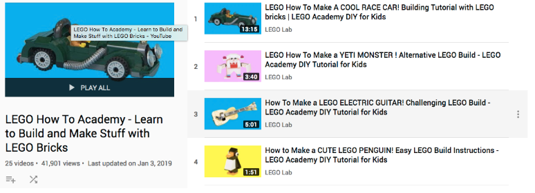 La playlist YouTube de Lego