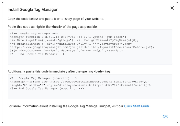 Extrait de Google Tag Manager