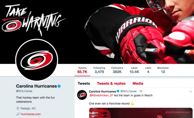 Twitter bio for the Carolina Hurricanes