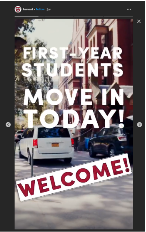 Harvard Instagram Story about first year students moving into dorms