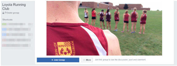 Loyola Running Club Facebook group header image