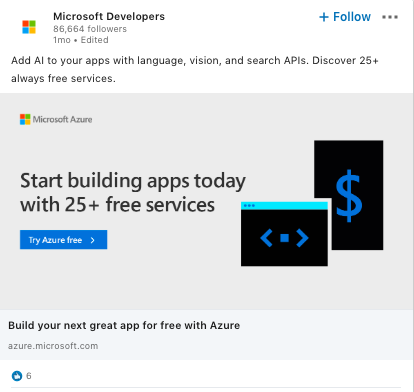 Microsoft LinkedIn ad