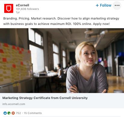 Les annonces LinkedIn d'eCornell