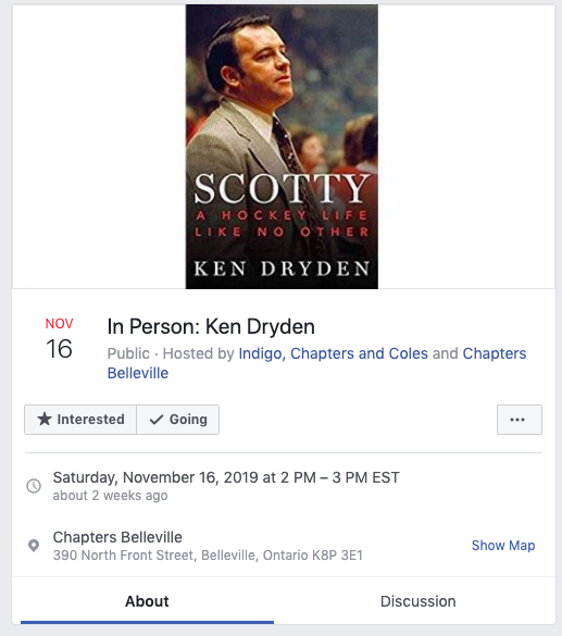 "Facebook event for ""In Person: Ken Dryden"" in Bellville Ontario on November 16, 2019"