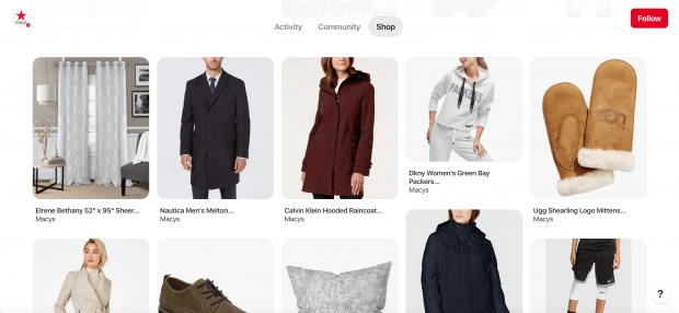 Onglet de la boutique de Macy avec 10 épingles de divers vêtements
