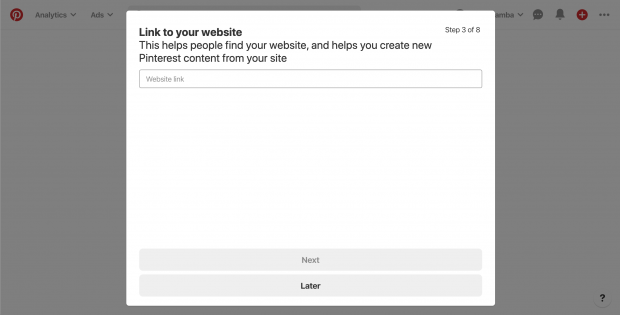 """Link to your website"" screen for setting up your business on Pinterest"