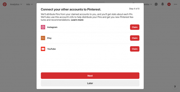 Prompt to connect your others accounts to Pinterest (Instagram, Etsy, YouTube)