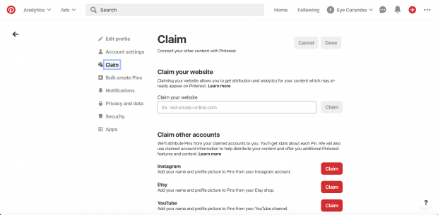 Claim your website page on Pinterest business profile