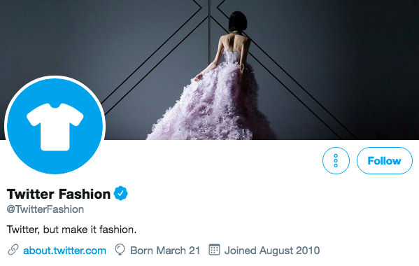 Twitter bio for Twitter Fashion