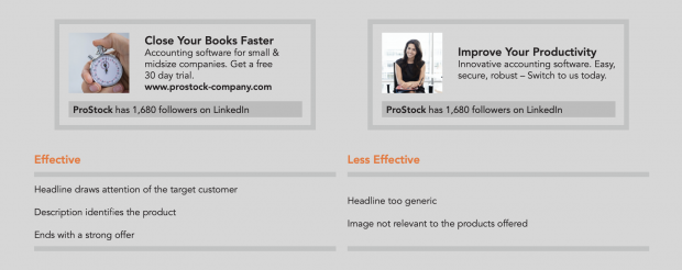 Comparison of two LinkedIn ads. One on the right is more effective with a short, targeted headline, a description that identifies the product, and a strong CTA.
