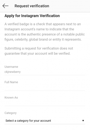Instagram verification details