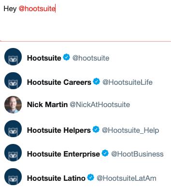 Fenêtre Twitter avec plusieurs poignées @Hootsuite