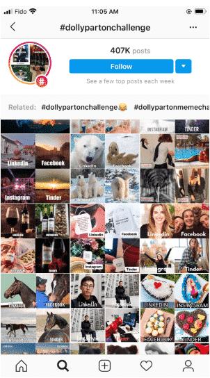 المشاركات الموسومة بـ #DollyPartonChallenge ، والكثير منها من العلامات التجارية