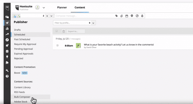 Bulk Composer button in Hootsuite Dashboard