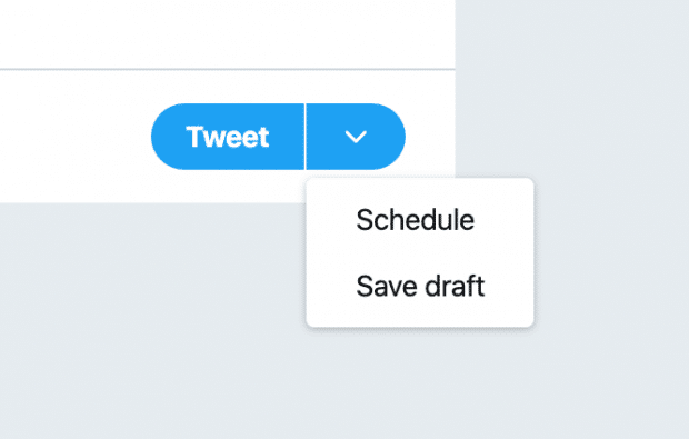 "schedule option on ""Tweet"" button"